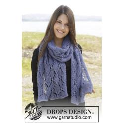 Faye by DROPS Design Bredde: 34 cm. Længde: 170 cm. DROPS KID-SILK