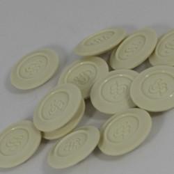 12 stk råhvide knapper med tegn, 24mm